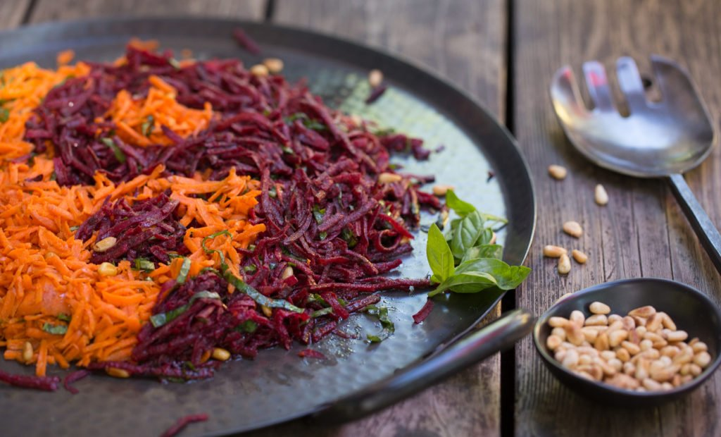 Carrot & Beet Salad with Pine Nuts & Basil Recipe