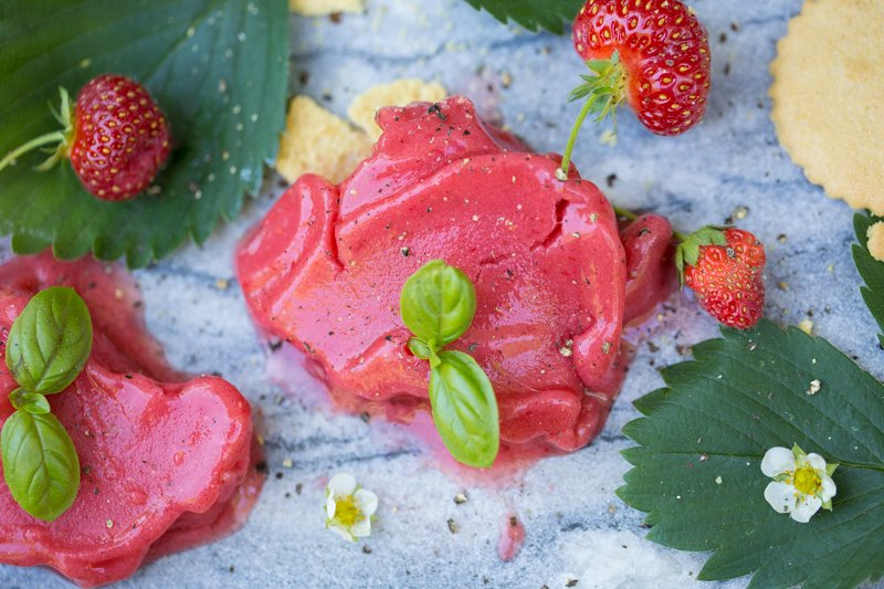 Strawberry Basil Sorbet Recipe from Hipcooks
