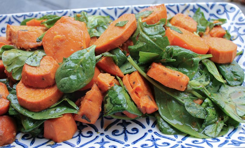 12 days of Hipcooks Recipe : Sweet Potatoes & Wilted Spinach