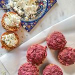 Beet, walnut & rosemary muffins with goat cheese spread