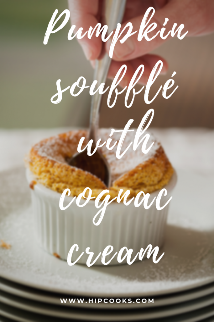 Pumpkin soufflé with cognac cream