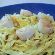 Saffron Pasta with Scallops Recipe