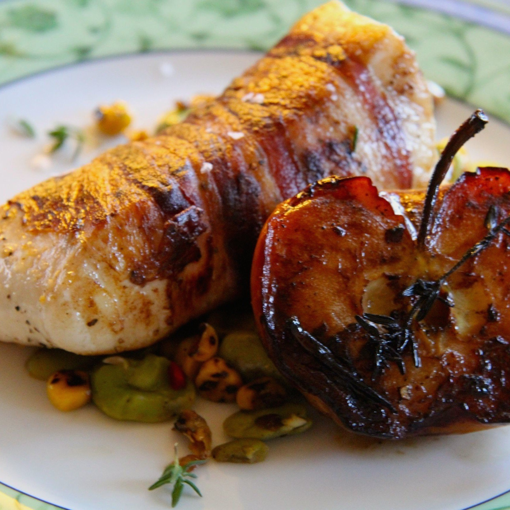 Pancetta-Wrapped Halibut with Succotash & Roasted Apples