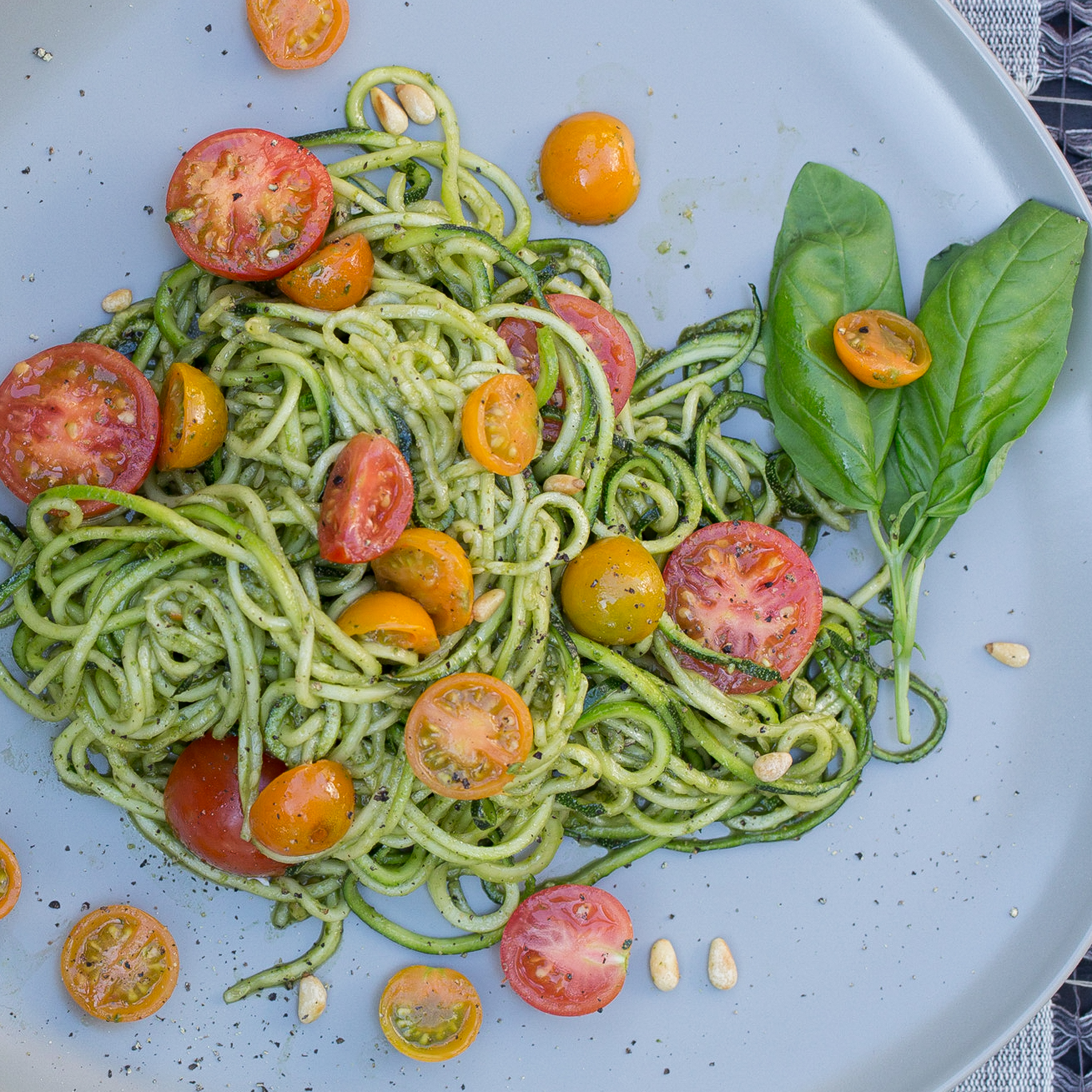 Zucchini Pasta with Pesto Recipe