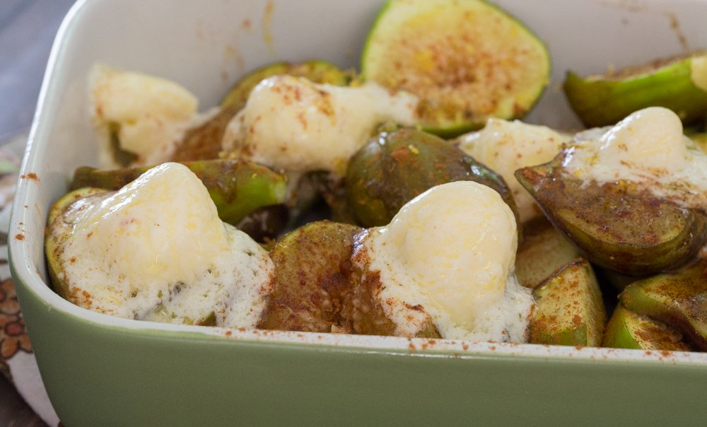 Baked figs with mascarpone & cinnamon recipe