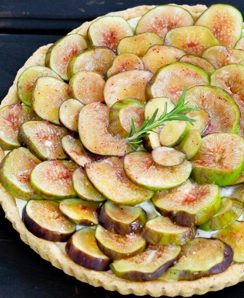 Fig Tart with polenta crust & lemon mascarpone cream