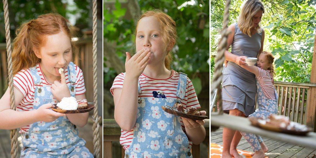 Lucia eating Apple Cake