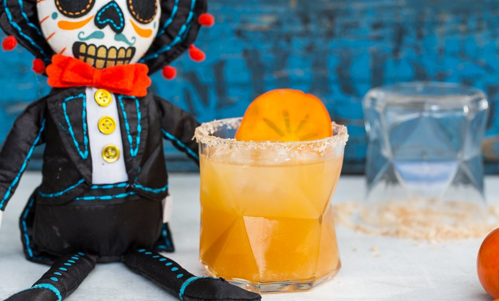 Spooky Halloween Drink Recipe: Persimmon Margarita with smoked salt rim