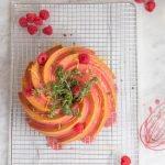 Mother's Day lemon, thyme & olive oil bundt with raspberry glaze