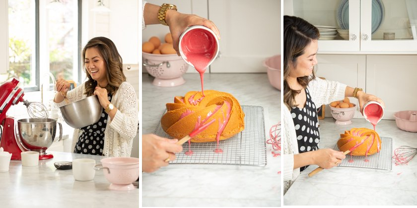 lemon, thyme & olive oil cake with a raspberry glaze recipe