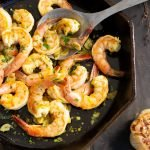 Gambas Bravas: garlic shrimp with saffron