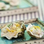 Warm oysters with a leek & champagne sauce