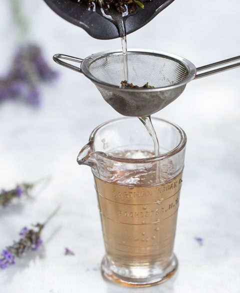 Pouring Lavender Simple Syrup