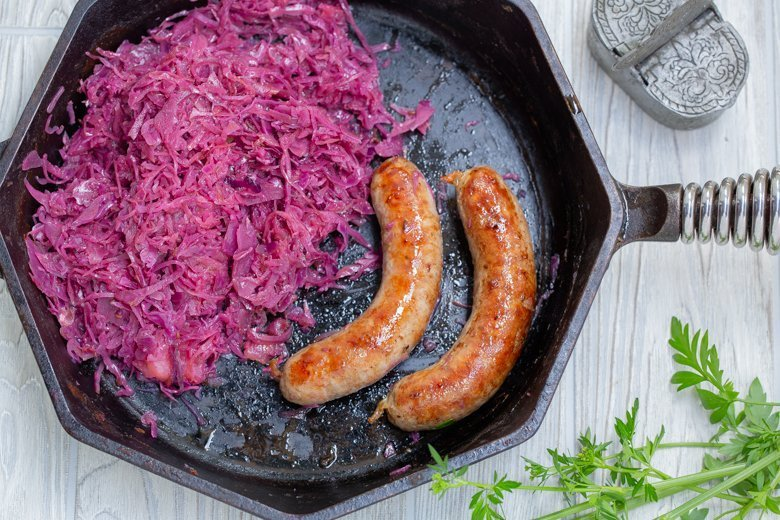 German sausages with braised red cabbage recipe