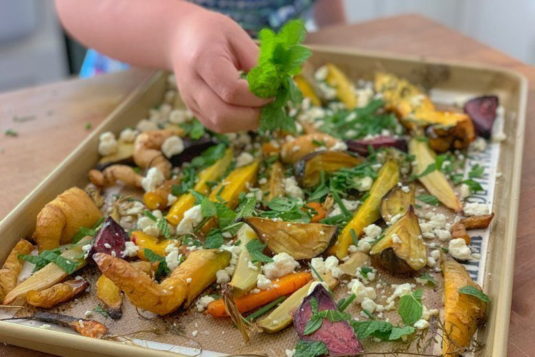 Lucia Adds feta and Mint roasted carrots