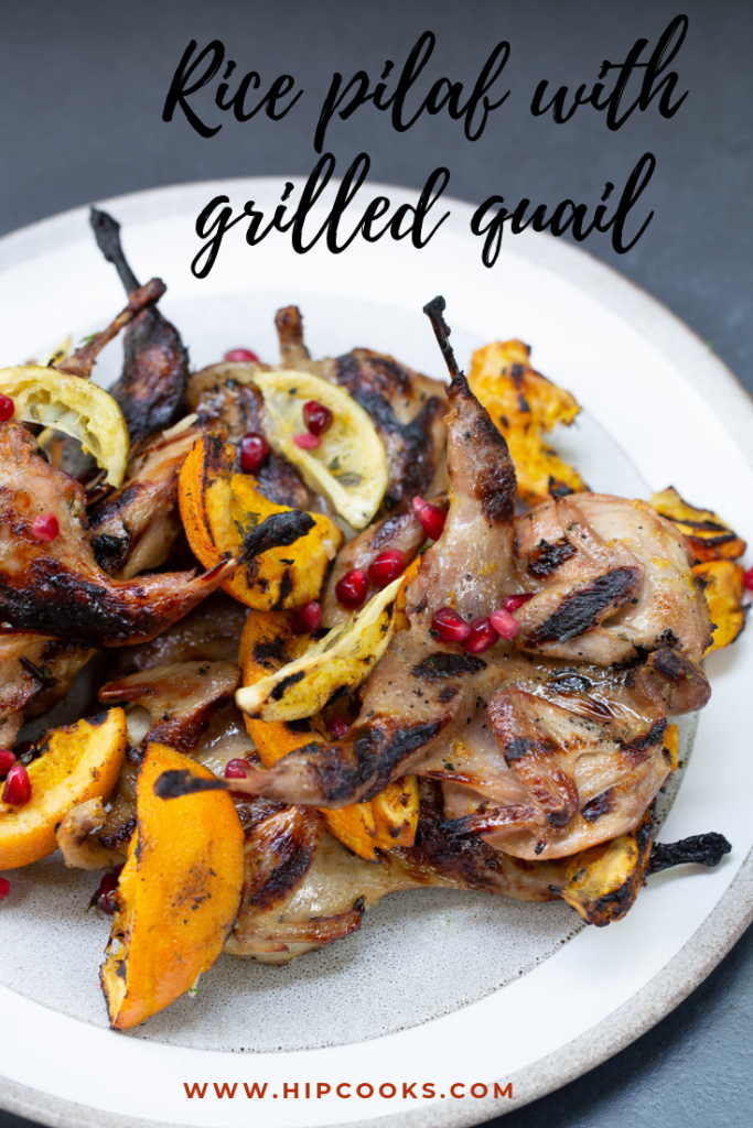Rice pilaf with grilled quail