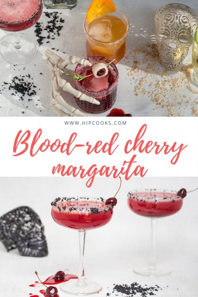 Blood-red cherry margarita