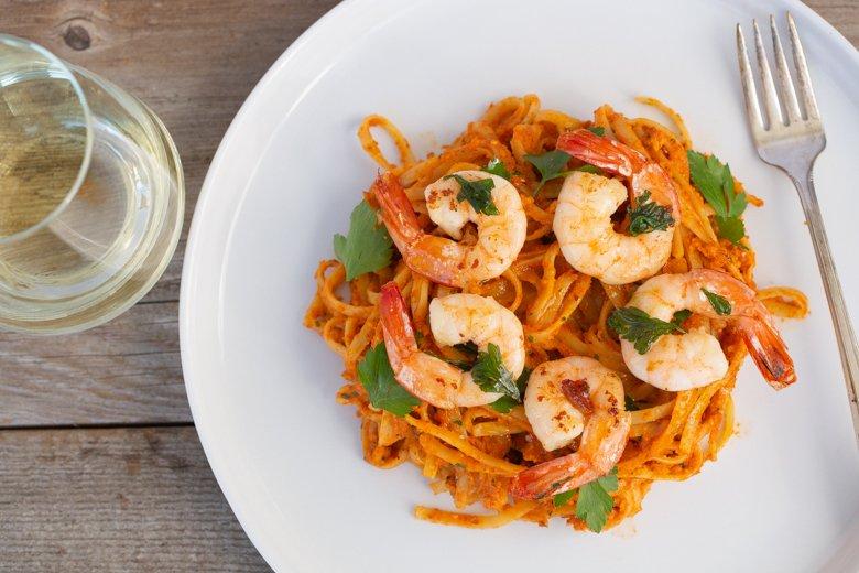 Pasta with romesco & shrimp