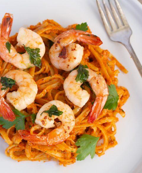 Shrimp with Romesco Sauce