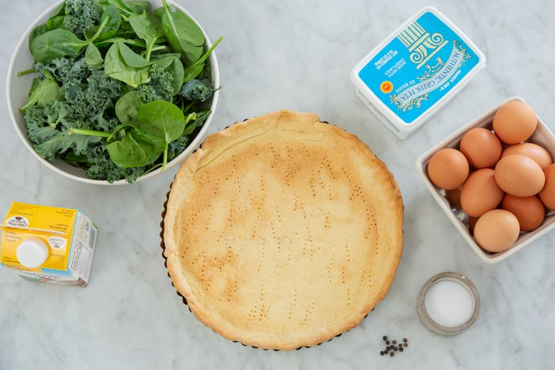 Ingredients for Spinach & kale quiche