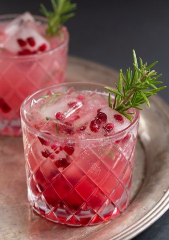 Rosemary pomegranate gin fizz - vertical