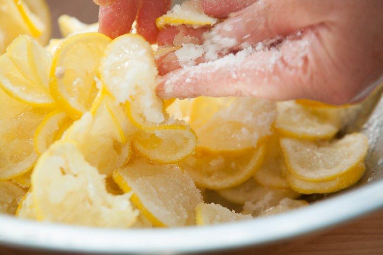 Massage salt and sugar into preserved lemons